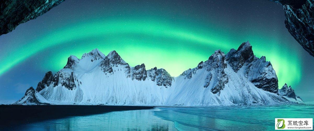 冰岛山脉极光风景主题